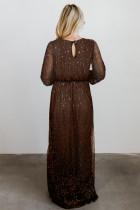 Brun sidoklänning med strass V -ringad maxiklänning