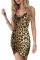 Leopar Desenli Dantel Yapıştırma Kolsuz Bodycon Mini Elbise