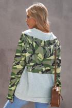 Φούτερ Green Camo Print Color Block Patchwork Zip Collar Φούτερ