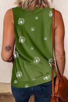 Star Print Knit Tank with Slits