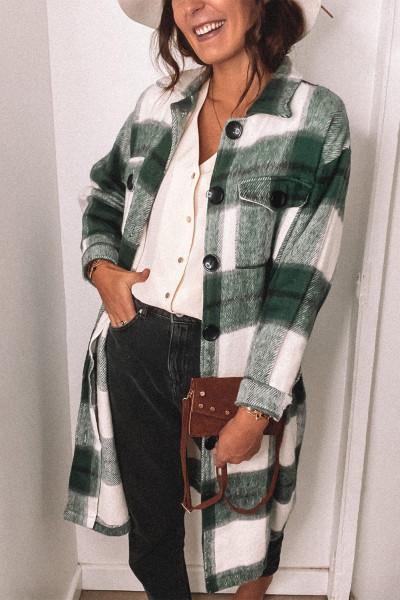Grön skjorta med krage med knappstängning Plaid Coat