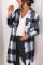 Svart skjorta med krage med knappstängning Plaid Coat