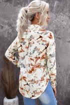 턴다운 칼라 플로럴 패턴 셔츠