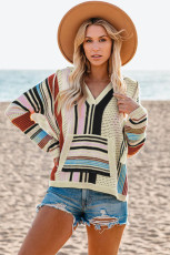 Svart Colorblock V Neck Pocket långärmad tröja