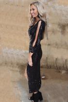 Μαύρο V Seck Split μανίκι Sequin φόρεμα με σχισμή
