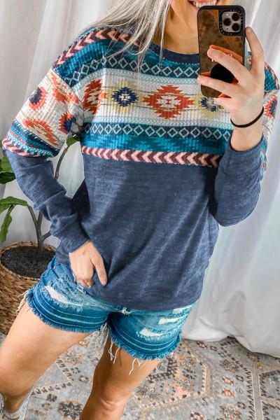 Mavi Aztek Geometrik Batı Kovboy Kız Sweatshirt