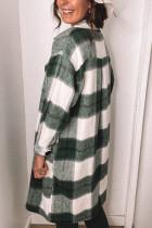 그린 셔츠 칼라 버튼 클로저 체크 무늬 코트