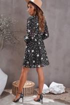 Svart V -ringad stjärnmönstrad tunika klänning