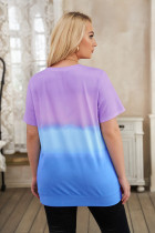 Lila Crew Neck Tie-dye Colorblock Plus Size T-shirt