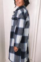 블랙 셔츠 칼라 버튼 클로저 체크 무늬 코트