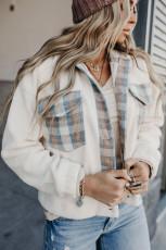 베이지 체크무늬 패치워크 버튼 플리스 턴다운 칼라 재킷