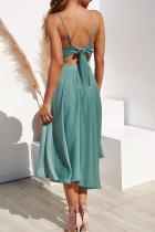 Πράσινο Αμάνικο Ανοιχτό Παντελόνι με Γυναικείο Ρούχα Midi Φόρεμα