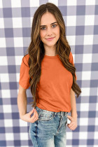 Orange T -shirt med rund halsringning