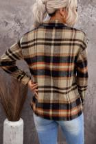 Orange geometrisk plädtryckt skjorta med fickor