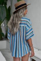 Blå Flerfärgad randig kortärmad blus