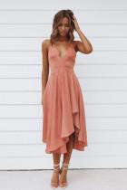 Ροζ Αμάνικο Ανοιχτό Παντελόνι με Γυναικεία Ρούχα Midi Φόρεμα