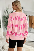 ピンクの絞り染めプリント長袖スウェットシャツ