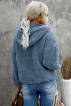 Μπλουζάκι Sky Blue 1/4 Zip με κουκούλα Sherpa με καγκουρό