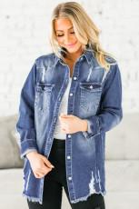 ブルーのユーズド加工デニムジャケット