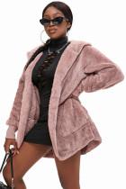 Rosa Soft Fleece Hooded Open Front Coat