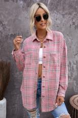Růžový kostkovaný vzorový košilový kabát se štěrbinami