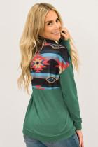 Felpa con cappuccio pullover verde azteco