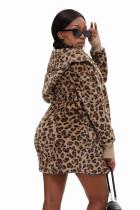 Leopard Soft Fleece Hooded Open Front Coat