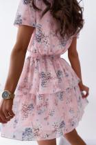 Růžové zavinovací květované šaty s výstřihem do V a výstřihu do výstřihu