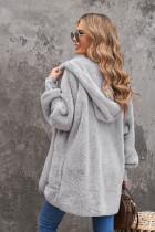 Grå Mjuk Fleece Hooded Open Front Coat