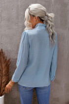 Sky Blue Eyelet Ruffles Button Crinkled Shirt