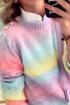 偽のツーピースパールデコレーショングラデーション絞り染めセーター