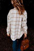 Khaki kostkovaný vzorový košilový kabát se štěrbinami