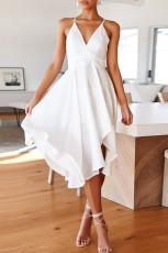 화이트 민소매 오픈 백 타이 매듭 러프 미디 드레스