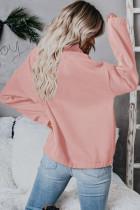 ピンクのジップカラースウェットシャツ