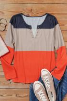 Μακρυμάνικο μπλουζάκι Colorblock Split V λαιμόκοψη