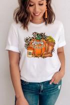 할로윈 호박 얼굴 그래픽 프린트 반팔 티셔츠