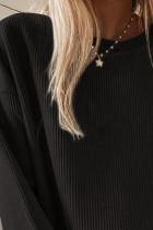 블랙 크루넥 골지 오버사이즈 스웨트셔츠