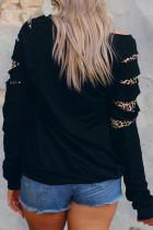 레터 레오파드 세라페 프린트 컷아웃 그래픽 스웨트셔츠