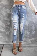 Himmelsblå, smala jeans med hög midja