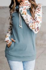 Leopard Print Sleeve Patchwork Hoodie με τσέπη