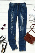Blue Mid Rise Distressed Ripped Holes Skinny Jeans