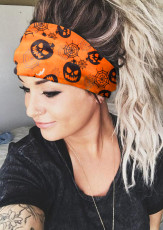 Orange Halloween Skull Spider Web Pumpkin Face Headband