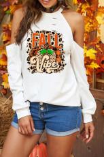 Halloween pumpa brev tryck kall axel grafisk tröja