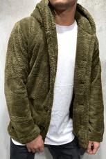 グリーンソリッドフリースボタンメンズフード付きジャケット