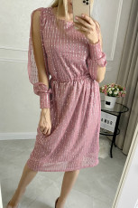 Růžové flitrové midi šaty s děleným rukávem