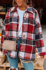 Red Plaid Print Buttoned Shirt Jacket
