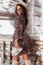 레오파드 랩 V넥 퍼프 슬리브 하이 로우 드레스