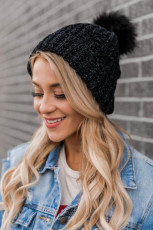 Black Solid Pom Knitted Hat