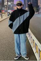 Gray Color Block Zip-up High Neck Fleece Men's Jacket