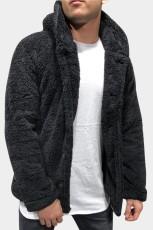 ブラックソリッドフリースボタンメンズフード付きジャケット